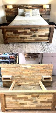 DIY bed frame and headboard - DIY home projects for bedrooms - . - DIY bed frame and headboard – DIY home projects for bedrooms – - Wooden Pallet Beds, Diy Pallet Bed, Diy Pallet Furniture, Diy Pallet Projects, Furniture Projects, Furniture Plans, Home Projects, Furniture Design, Wooden Furniture