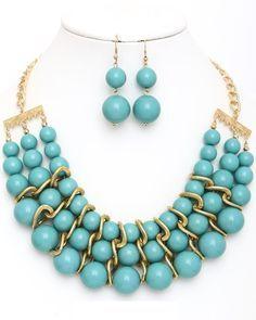 Shop Fashion Jewelry, Trendy Jewelry, Inexpensive Jewelry, Statement Necklace, Chunky Necklace, Blue Necklace, Jewelry Set, Necklace