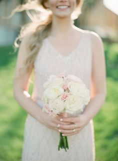 Blush and white rose bouquet: http://www.stylemepretty.com/connecticut-weddings/middletown/2016/08/01/this-blush-hued-affair-is-what-romantic-dreams-are-made-of/   Photography: Elena Wolfe - http://elenawolfe.com/
