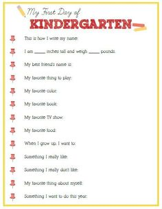 First Day of Kindergarten Interview – Click image or link below to download