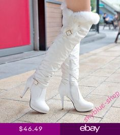 b13455177092e6 Womens Slouch Warm Fur Trim Stiletto High Heels Slim Over Knee High Knight  Boots