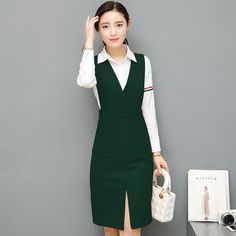 Cheap vestidos f, Buy Quality vestidos fashion directly from China two piece dress Suppliers: 2017 New Spring Big Size Women Dresses Vintage Fashion Business Attire Dress Elegant Casual Two Pieces Dresses Female Vestidos Business Fashion Professional, Fashion Business, Business Outfits, White Fashion, Work Fashion, Stylish Dresses, Dresses For Work, Formal Business Attire, Kpop Mode