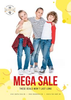 Clothes Sale with Happy Kids — Create a Design Kids Clothes Sale, Edit Online, Online Posters, Kids Poster, Marketing Materials, Happy Kids, Ecommerce, Childhood, Templates