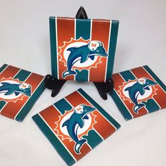 "Set of Four ""Miami Dolphins"" Tile Coasters on Etsy, $14.00"
