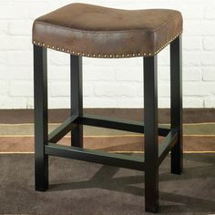 Tudor Backless 26 Stationary Barstool in a Wrangler Brown Fabric - Contemporary - Bar Stools And Counter Stools - Modern Furniture Warehouse...