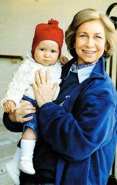 HE Don Felipe Marichalar y de Borbon being held by his beaming maternal grandmother Queen Sofia of Spain.