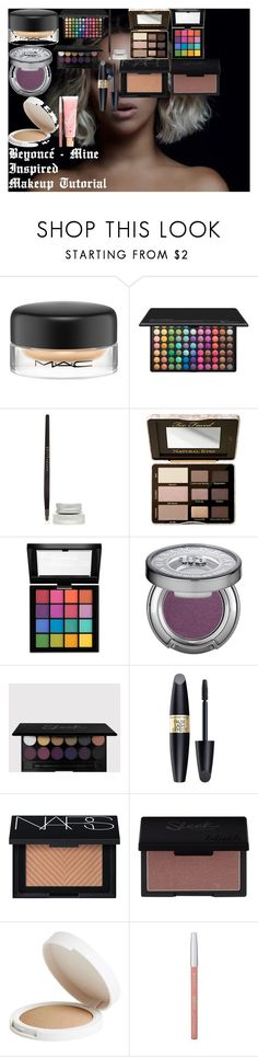 """""""Beyoncé - Mine ♡ Inspired Makeup Tutorial"""" by oroartye-1 on Polyvore featuring beauty, MAC Cosmetics, BHCosmetics, Maybelline, Too Faced Cosmetics, NYX, Urban Decay, Max Factor, NARS Cosmetics and Topshop"""
