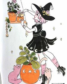 Witchy Vibes — vickisigh: Week 1 of Inktober! My theme this. Art And Illustration, Halloween Illustration, Witch Aesthetic, Aesthetic Art, Character Inspiration, Character Art, Art Sketches, Art Drawings, Witch Drawing