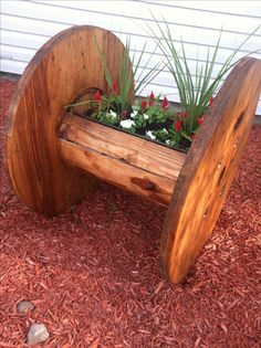 Cable Reel Planter I just finished.                                                                                                                                                      More