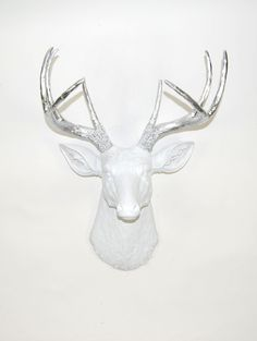 The Penn | Stag Deer Head | Faux Taxidermy | White w/ Chrome Antlers