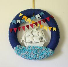 Extra Large Ship Wreath, Nautical Wreath, Fathers Day Wreath, Yarn and Felt Wreath, 18 inch size - Ready to Ship