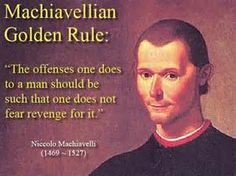 MACHIAVELLIAN: A person who schemes in a Machiavellian way. Cunning, scheming, and unscrupulous, especially in politics or in advancing one's career. Synonyms: devious, cunning, crafty, artful, wily, sly, scheming, treacherous, two-faced, Janus-faced, tricky, double-dealing, unscrupulous, deceitful, dishonest