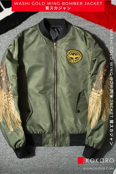 Bomber jackets are popular in Asia, and are an integral part of street fashion. Washi Gold Wing Bomber Jacket, Men's Fashion, Trendy Outfit, Men's Style Inspiration, Men's Casual Outfit, Men's Fall Outfits, Men's Fashionwear, Men's Urban Style, Men's Streetwear, Aesthetic Jacket, Comfortable Jacket, Men's Classy Style, Men's Clothing Outfit, Men's Style, Fashion Blogger! #jacket #mensfashion #fashionformen #casualfashion #kokorostyle