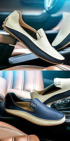 US $19.48 <Click to buy> Prelesty Big Size Spring Autumn Men Luxury Brand Driving Shoes Breathable Leather Flats Loafers Casual Slip On Footwear Male