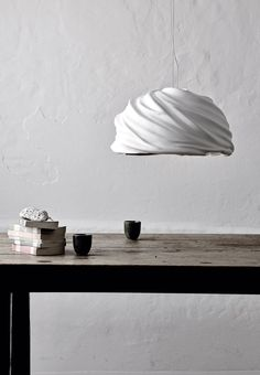 Pendant lamp, 'Cyclone', in molded plaster and ceramics from Fabbian.