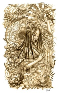 Beautiful geisha sketch. Tattoo inspiration