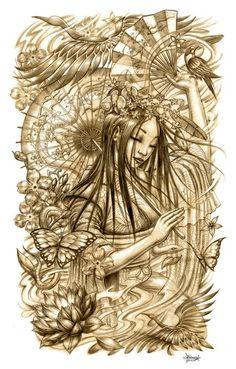 Beautiful geisha sketch. Tattoo inspiration