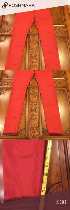 Urban Outfitters Stretch Jeans Red with dark red cuff at ankle. Stretchy and in excellent condition Urban Outfitters Jeans Skinny