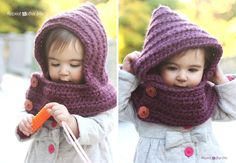 FREE Pattern by Repeat Crafter Me: Hooded Crochet Cowl with Lion Brand Thick & Quick Yarn #Scarfie