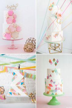 Geometric wedding cake inspiration   wedding cake trends for 2016   www.onefabday.com
