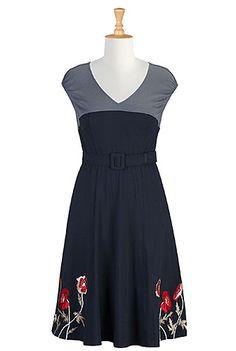 #eShakti Fall florals contrast knit dress