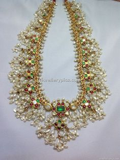 Antique Gotta pusalu long necklace designs from Boorugu jewellers - Latest Jewellery Designs