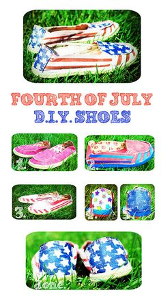 My first Fourth of July D.I.Y. Shoes :)