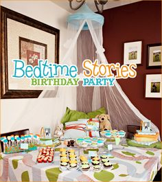 Okay so maybe I should just be a party planner! I love this idea of a bedtime story birthday party! Adult Slumber Party, Girl Sleepover, Sleepover Party, Pajama Party, Slumber Parties, Book Birthday Parties, Birthday Party Decorations, Storybook Party, Movie Night Party