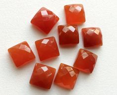 Carnelian Orange Chalcedony Rose Cut Orange Flat by gemsforjewels