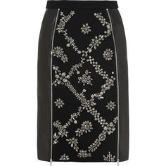 Preen by Thornton Bregazzi Dotty embellished wool-crepe and leather skirt