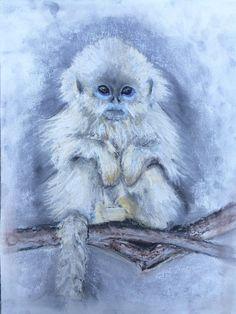 Adorable monkey pastel painting animal decor by HartungDesignsCo