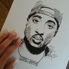 "Tupac Shakur. My drawing. Follow me on instagram: ""artandnovacane"""