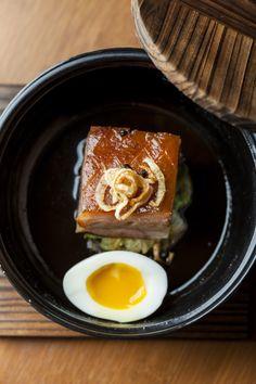 Apple-Smoked Pork Belly, Braised Cabbage, Egg   www.thehouseofho.co.uk #soho #oldcompton #foodporn #bobbychinn