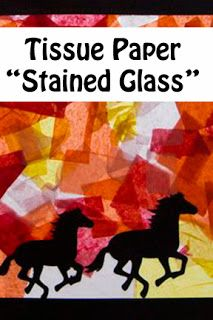 """Life with Moore Babies: """"Stained Glass"""" Horses - Contact Paper & Tissue Paper Camping Activities, Camping Crafts, Cowboy Crafts, Horse Birthday Parties, Summer Camp Crafts, Horse Camp, Horse Party, Stained Glass Crafts, Horses"""