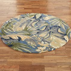 Place the Paradise Blue Tropical Area Rugs on your floors to create a pleasant, tropical environment without leaving your home. Tropical Area Rugs, Living Room Rug Placement, Braided Wool Rug, Grey And White Rug, Blue Carpet, Transitional Rugs, Round Area Rugs, Rooms Home Decor, How To Clean Carpet
