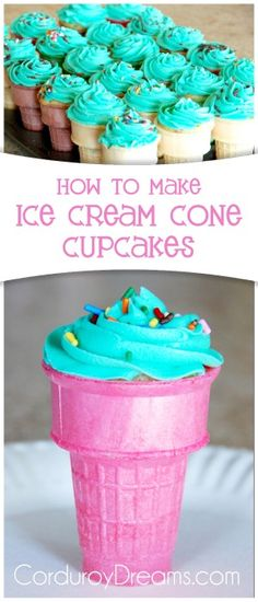 "Ever since I showed you my neice's ""Crazy Birthday Party, I've been wanting to try making cupcakes in ice cream cones. Actually, it's my kids that have been wanting… cupcakes decoration hochzeit ideas ideen recipes rezepte cupcakes cupcakes cupcakes Cake In A Cone, Ice Cream Cone Cake, Ice Cream Cupcakes, Make Ice Cream, Ice Cream Party, Cupcakes In A Cone, Cupcake Icecream Cones, Icecream Ideas, Lemon Cupcakes"