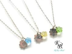 FlowerGirl Jewelry, Personalized Flower Girl Gift, Flower Girl Necklace, Flower Charm, Flower Necklace, Sterling Silver Necklace, Flowergirl   KyKy's Bridal, Handmade Bridal Jewelry, Wedding Jewelry