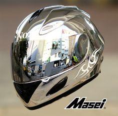 MASEI 802 CHROME MOTORCYCLE BIKE ARAI ICON HARLEY HELMET For Facebook Members & Friends
