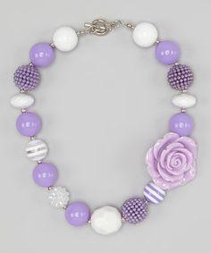 Purple & White Rose Bead Necklace