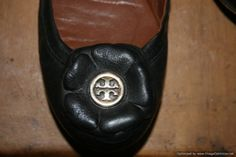 Tory Burch Black Leather Shelby Flower Ballerina Ballet Flat Size 8.5 EXCELLENT