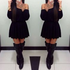 I would soo wear this! #cute #boots #blackdress