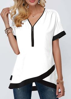 Tops For Women Contrast Piping Crossover Hem Half Zipper Blouse Trendy Tops For Women, Stylish Tops, Blouses For Women, Women's Blouses, White Blouses, Formal Blouses, Short Sleeve Blouse, Tunic Tops, How To Wear