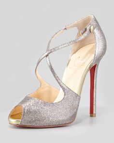Wrap Glitter Peep-Toe Red Sole Pump - Christian Louboutin