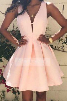 Sexy V Neck Satin Sleeveless Short Mini Pink Sweet 16 Homecoming Dress ItemHPi0020