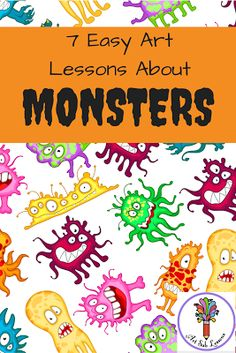 These 7 elementary art lesson plans about monsters are suitable to be taught by subs, classroom teachers or art teachers. Kids will have fun doing these.