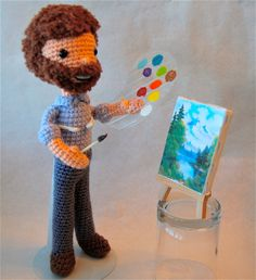 Bob Ross sack boy. Complete w/ happy little trees and clouds, and a palette bearing Titanium White.