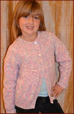 Girl's Cardigan  in Merino 5 superwash  -   free knit girl's cardigan pattern  -  Crystal Palace Yarns