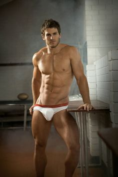 White CK briefs with red band