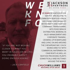 "Meet Jackson & Partner's All-Star Roster - Chuck Williams, National VP of Sales (Entire Us); Chuck is looking forward to leading the sales efforts in the United States & Canada ""I have been in the food service/ Seafood industry for over 35 years. The most exciting thing for me joining the J&P team is the unique approach to our industry. Never before has a food service sales organization formed direct partnerships with manufacturers from around the world. A truly ground breaking business…"