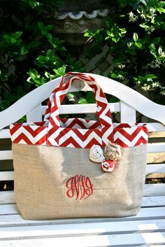 Red Chevron and Burlap Beach Tote- Custom Made to Order (Free Monograming) on Etsy, $30.95